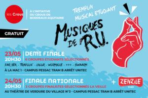 FINALE NATIONALE TREMPLIN MUSIQUES DE R.U - 23 &  24 MAI 2019 - CROUS BORDEAUX (33)